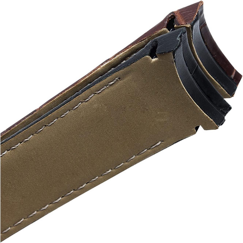 SSXPNJALQ Banda de Reloj de Cuero Genuino de Extremo Curvo 22 mm 23 mm 24 mm Ajuste para Tissot couturier t035 Reloj de Reloj Banda de Acero Banda de Hebilla Pulsera muñeca marrón
