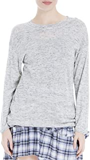 Womens Crew Neck Front Pockets Pullover Sweater Gray S