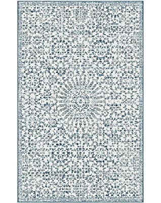 Ophanie Modern Boho Chic Area Rug Carpet, Upgraded Thick Area Rugs for Living Room, Bedroom, Home Office, 5' x 8', Blue/White