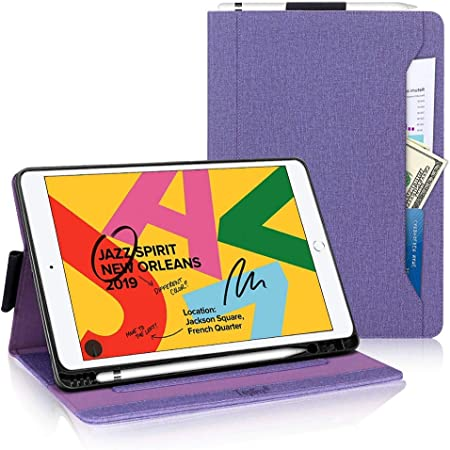 New iPad 10.2 Case 2020 iPad 8th Generation Case / 2019 iPad 7th Generation Case,Toplive Canvas Stand Folio Case Cover with Apple Pencil Holder,Auto Sleep/Wake and Multiple Viewing Angles,Purple
