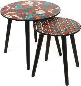 THE HOME DECO FACTORY Lot de 2 Tables Gigogne Wax Bleu MDF, Multicolore, 48 x 43,5 x 48 cm