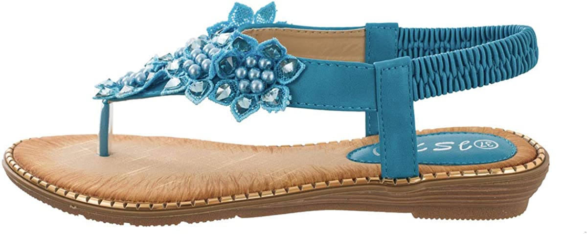 SUNROLAN Womens Bohemian Flat Sandals Flip Summer Flo It is very Outlet sale feature popular Rhinestone