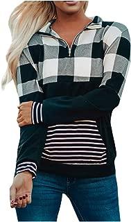 OULSEN Autumn Womens Blouse Splice Plaid Patchwork Zipper Lapel Long Sleeve T-shirt Loose Casual Pullover Blouse Tops