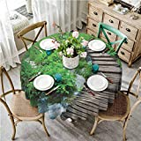 ScottDecor Forest Picnic Cloth Round 70 Inch Path and The Waterfall Board in Croatia Cascade Garden Lake Fence Peaceful View Table Cover Round Tablecloth