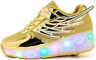 LED Scarpe Sportive Scarpe Roller per Bambini Ragazze e Ragazzi USB Carica Lampeggiante Luminosi Running Sneakers Traspira...