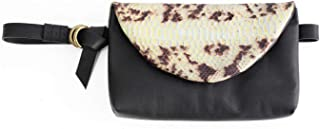 Marsupio, clutch, pochette, in morbidissima pelle color nero e pitone in edizione limitata. Waist bag, personalizzabile co...