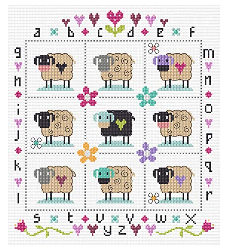 The Stitching Shed Country Sheep Counted Cross Stitch kit, Cotton, White, 26.2cm x 18.2cm x 1.4cm