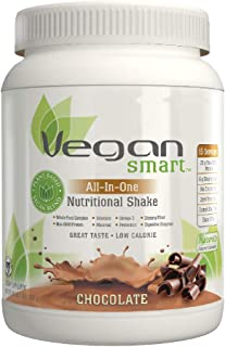 Vegansmart Plant Based Vegan Protein Powder by Naturade, All-In-One Nutritional Shake - Chocolate 24.34 Ounce