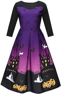 LONGDAY💯 3D Print Unique O Neck Flared Midi DressWomen's Long Sleeve Casual Santa Christmas Print Flare Swing Dress