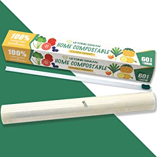 Compostable Cling Wrap, ASTM 6400 Certified Biodegradable Cling Wrap 194 Sq Ft, Eco Friendly Cling Wrap with Slide Cutter,...