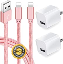 Boost Chargers 5W USB Power Adapter Wall Charger 1A Cube for Plug Outlet w/ 6FT Nylon Braided Sync & Charger Cord Compatible for iPhone 8 / X / 7 / 6S / Plus + More (Pink) 2-Pack