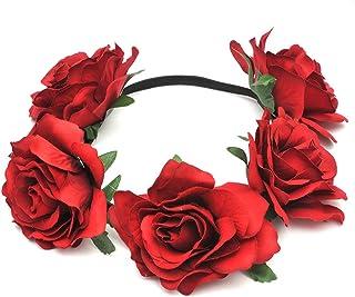WINOMO 花かんむり 花冠 花飾り ヘアアクセサリー ブライダル ウェディング 結婚式 花嫁 写真 発表会(ダークレッド)