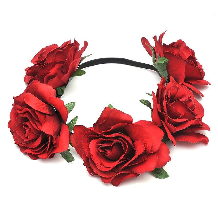 ネズミだますラッドヤードキップリングWINOMO 花かんむり 花冠 花飾り ヘアアクセサリー ブライダル ウェディング 結婚式 花嫁 写真 発表会(ダークレッド)