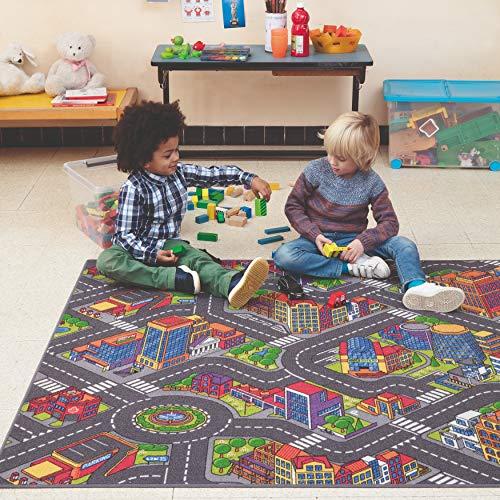 Carpet Studio Alfombra Carretera 140x200cm, Alfombra Infantil para Dormitorio & Cuarto de Jugar, Lavable a Máquina, Fácil de Limpiar, Anti-Deslizante - Big City