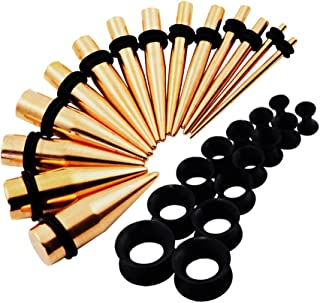 Qmcandy 28pcs Black/Golden/Silver/Rainbow/Rose Golden/Blue Stainless Steel Tapers & Flexible Silicone Ear Tunnels Stretching Kit