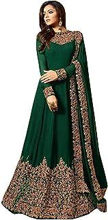 Monika Silk Mill Women's Faux Georgette Semi-stitched Salwar Suit (MSF939_Green_Free Size)
