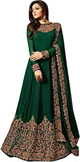 Monika Silk Mill Women's Faux Georgette Embroidered Semi Stitched Anarkali Salwar Suit - Free Size
