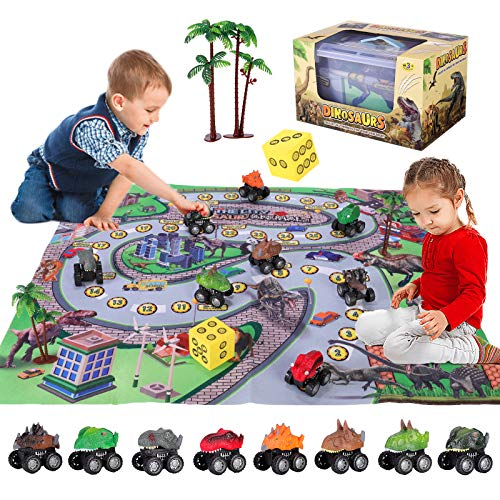 SHANNA Juguete Dinosaurio, Dinosaurio Coche Figuras Dinosaurios Juego Educativo Dinosaurios con tapete para Juego Dinosaurios para niños niñas, cumpleaños (Juego Coches Dinosaurios)