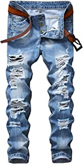 Enrica Men's Skinny Ripped Distressed Destroyed Straight Fit Denim Jeans
