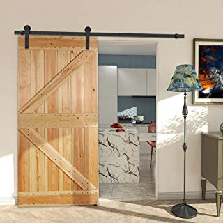 CCJH 7FT Heavy Duty Sliding Barn Wood Door Hardware Kit - Smoothly and Stable - Easy Installation - Fit 42