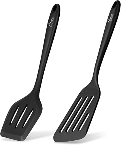 2021 HOTEC Silicone Slotted wholesale Fish Turner Spatula Set Flipper Spatulas for Baking, Cooking Heat Resistant Non Stick Cookware lowest Strong Dishwasher Safe Black,2 online sale