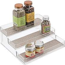 mDesign Porta spezie per spezie - Porta spezie per Cucina Sempre ordinato - Porta spezie con 3 Ripiani in Robusto PVC - Trasparente/Metallizzato
