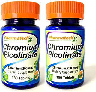 Pharmatech ®, Chromium Picolinate 200 mcg, Dietary Supplement, Gluten Free, Non GMO, Lactose Free, Suitable for Vegetarian...