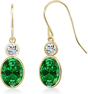 Gem Stone King 2.76 Ct Oval Green Simulated Emerald White Topaz 14K Yellow Gold Earrings