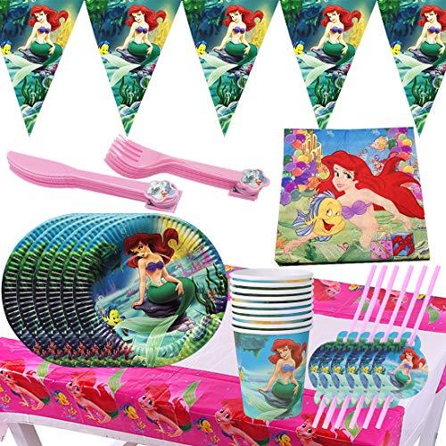 Vajilla Sirena Fiesta - XCSW Conjunto de Suministros de Fiesta de Sirena...