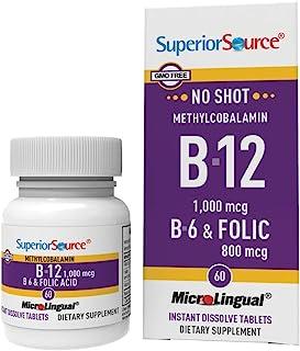 Superior Source No Shot Vitamin B12 Methylcobalamin (1000 mcg), B6, Folic Acid, Quick Dissolve Sublingual Tablets, 60 Ct, ...