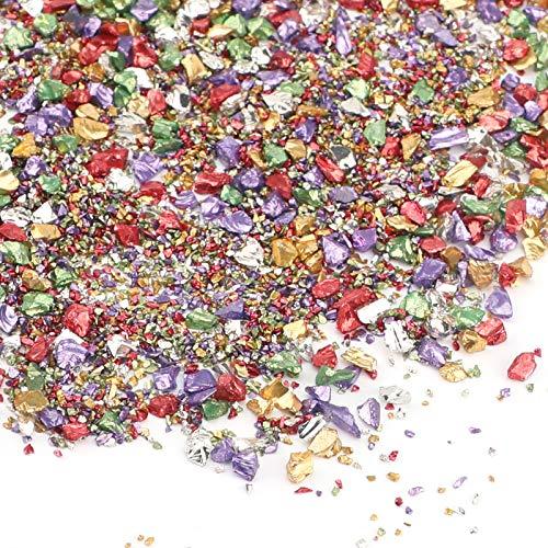 AIEX 100g 1-5 mm Cristal Triturado Metálico Triturado Reflectante Chips de Cuentas con Purpurina para Bricolaje, Resina, Relleno de Jarrones de Uñas, Joyería, Artesanía, Decoración (Multicolor)