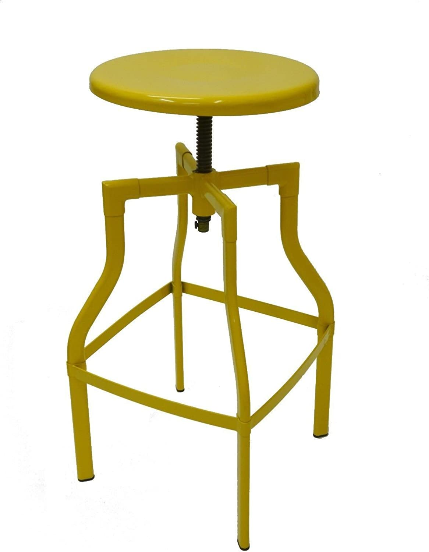 Industry Swivel Metal Bar Stool - Yellow Large