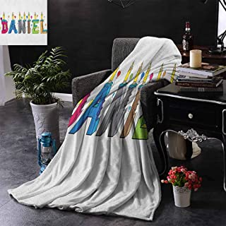 Lightweight Blanket Daniel Grooving Cheerful Male Name with Happy Occasion Birthday Theme Bite Marked Cake Light and Warm W60 x L51 Multicolor