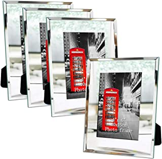 Amazing Roo 4x6 Glass Picture Frame Sets 4 x 6 Mirror Photo Frames for Tabletop, 4 Pack