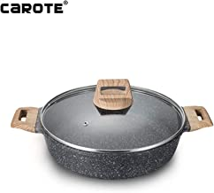 Carote 11 Inch/4.5 Quart Low Casserole PFOA Free Stone-Derived Non-Stick Coating From Switzerland, Bakelite Handle With Wood Effect (Soft Touch) With Lid, Suitable For All Stove Including Induction