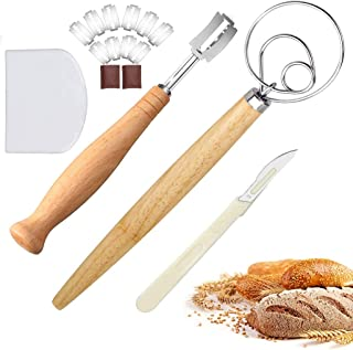 Danish Dough Whisk Large/Bread Lame Set (10 Replacement Blades, Sourdough Bread Cutter, Bread Scoring Knife, 2 Leather Protective Cover) for Sourdough Bread, Cake, Pizza, Pancakes, Biscuits