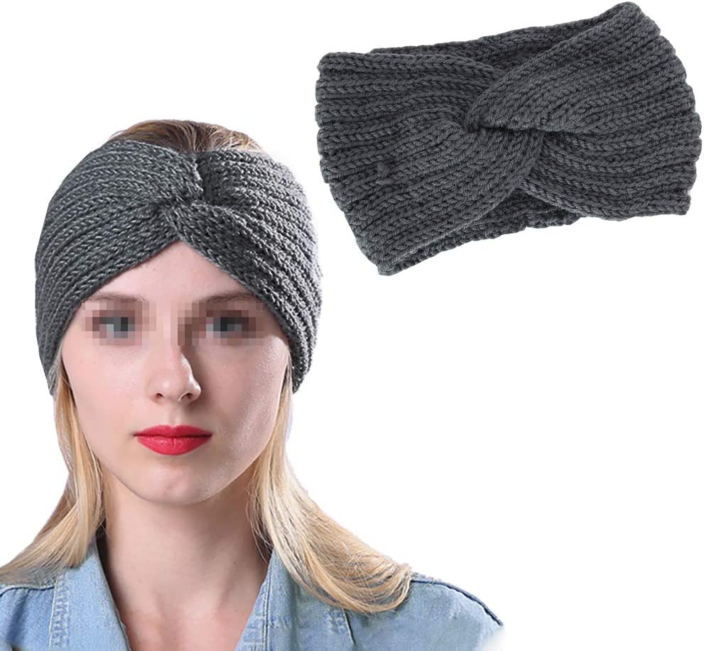 GSHLLO Winter Warm Knitted Elastic Headband Crochet Hairband Stretchy Knit Head Wrap Turban Ear Warmer for Women Dark Grey