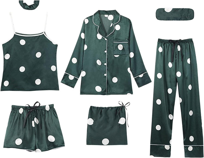 xoxing 7-Piece Pyjamas Woman Cotton Set Lingerie Pants Headband Blindfold Top Satin Dressing Gown Sleepwear Set (I)