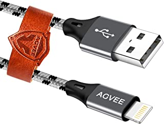 Agvee Unbreakable End Tip [3 Pack 10ft], 4A Heavy Duty Long USB to 8Pin Charger Cable, OEM Case Friendly Braided Durable Fast Charging Cord for iPhone i-Phone XS XR X 8 7 6s 6, iPad Air, iOS, Gray