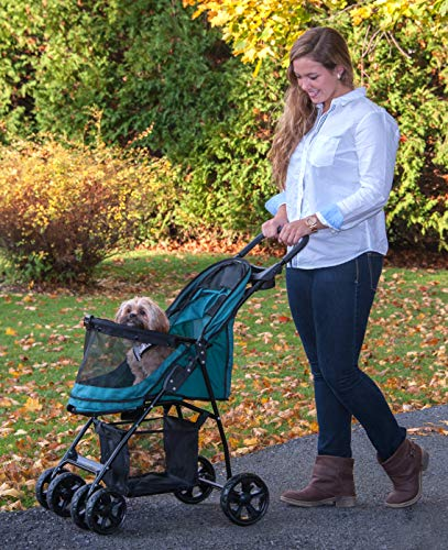 Pet Gear No-Zip Happy Trails Lite Pet Stroller for Cats/Dogs, Zipperless Entry, Easy Fold with Removable Liner, Storage Basket + Cup Holder, Pine Green (PG8030NZPGA) 3