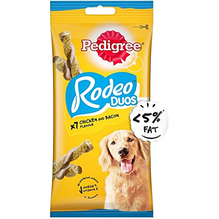 Pedigree Rodeo Duos Adult Dog Treat, Chicken & Bacon - 123 g Pack (7 Treats)