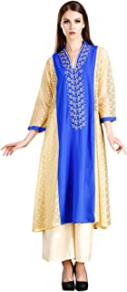MEVE Readymade Long Kurta and Palazzo Set for Women Beige