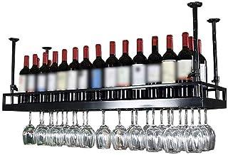 LXYPLM Étagère Casier vin Bouteille Plafond en métal fixé au Plafond en Verre de vin Suspendu décoration étagère Bar Resta...
