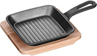 Pre-seasoned Cast Iron Steak Grill Pan Mini barbecue Griddle with Handle and Wooden Serving plate Perfect for commercial h...