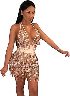 L'VOW Women's Glitter Sexy Deep V Neck Sequin Beaded Halter Bodycon Mini Nightclub Party Dress