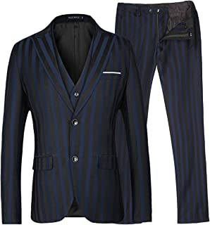 MAGE MALE Men's Stripe 3 Piece Suit Dress Slim Fit Two Button Business Suit Vest Pants Sets