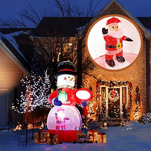 CCLIFE Led selbstschneiender Schneemann mit Schneefall Beleuchtet Aufblasbar snowman outdoor Schneiender Weihnachtsbeleuchtung weihnachtsdeko Weihnachtsfigur, Farbe:015 snowing man-220cm