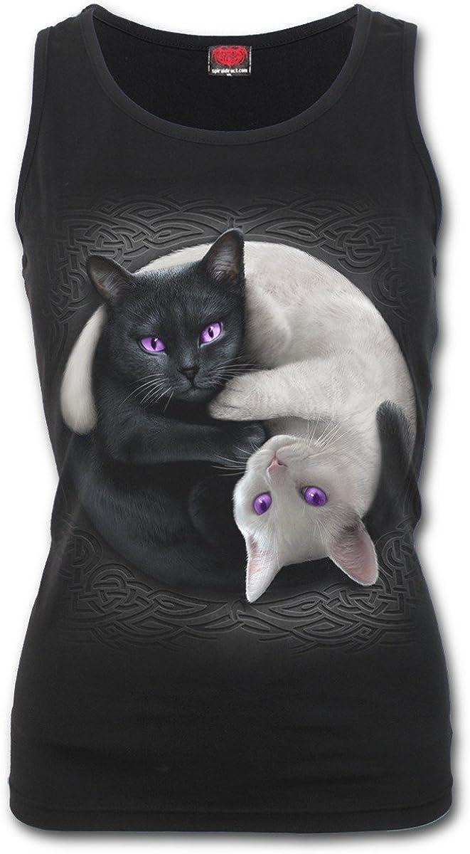 Spiral Direct Yin Yang Cats-Razor Back Top Black Mujer