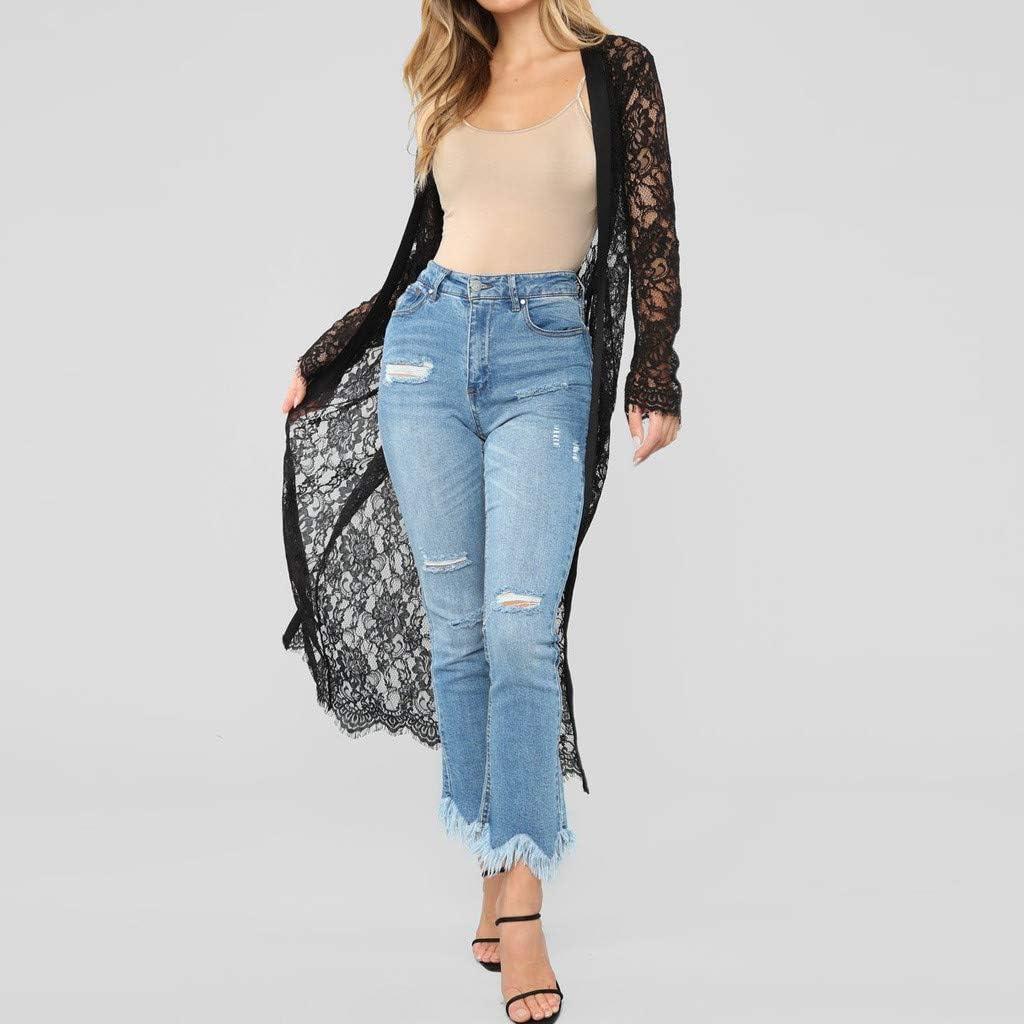 BingYELH Plus Size Lace Cardigan for Women Long Loose Shawl Kimono Top Cover up Beachwear Mesh Rash Guard Tops