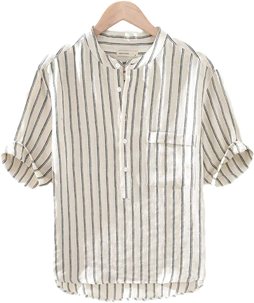 Men's Cardigan Striped Five-Point Sleeve Linen Breathable Stand-up Collar Short